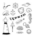 Sea vector doodle collection hand drawn illustration of different and sailor doodles objects isolated on white background Royalty Free Stock Image