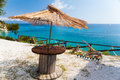 Sea view bar table on zakynthos greece Royalty Free Stock Photos
