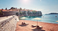 Sea view  beach hotel luxury resort Sveti Stefan Milocer beach Montenegro Royalty Free Stock Photo