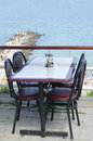 Sea view from a dining table Stock Photos