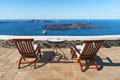 Sea view from fira santorini a terrace of aegean islands greece Royalty Free Stock Images