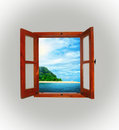 Sea view through an open window in a dark room Royalty Free Stock Photo