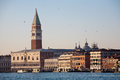 Sea view panorama of venice with campanile and doge s palace facade Royalty Free Stock Photography
