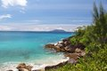Sea view with rocks on the seychelles emotional recordings from tropical paradise of in indian ocean off africa Stock Photography