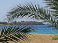 Sea view from the shore towards a fortress in Sithonia peninsula, Halkidiki, with a palm tree leaf close up in front. Royalty Free Stock Photo