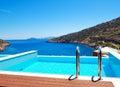The sea view swimming pool at the luxury villa crete greece Stock Photos
