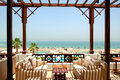 Sea view terrace at luxury hotel Royalty Free Stock Photography
