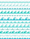 Sea wave borders. Seamless ocean storm waves wavy surface blue water splash silhouette elements horizontal frame vector
