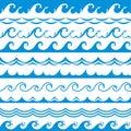 Sea wave frame. Seamless ocean storm tide waves wavy river blue water splash design elements horizontal borders vector