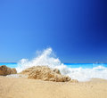 Sea wave on a sandy beach at Lefkada island Stock Photography