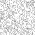 Sea wave seamless pattern isolated on white background. Royalty Free Stock Photo