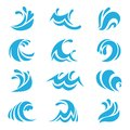 Sea wave set. Ocean storm tide waves wavy river water design line elements vector isolated collection