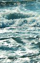Sea wave splashing water.Blue blue photo. Royalty Free Stock Photo