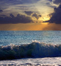 Sea wave in sunset time Royalty Free Stock Images