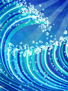 Sea waves abstract grunge illustration of blue color Royalty Free Stock Images