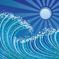 Sea waves abstract illustration of blue color Stock Photography