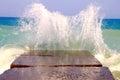 Sea waves breaking on the breakwater Royalty Free Stock Photo