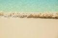 Sea waves breaking on sandy beach Royalty Free Stock Photo
