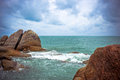 Sea waves crashing against the rocks, Koh Samui Royalty Free Stock Photo