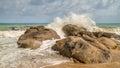 sea waves crashing on the rocks Royalty Free Stock Photo