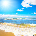 Sea waves roll on to a beach Royalty Free Stock Photo