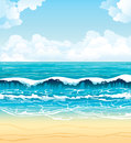Sea with waves and sandy beach on a cloudy sky Royalty Free Stock Photo