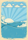 Sea waves in sun day. Vintage Royalty Free Stock Image