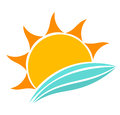 Sea waves and sun icon vector illustration Stock Images