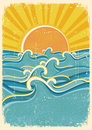 Sea waves and yellow sun Royalty Free Stock Image