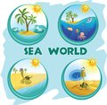 Sea world on four icons Royalty Free Stock Image