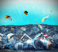 Seabed pollution in the because of humans Royalty Free Stock Photo