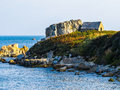Seacoast on the guernsey island landscape of bailiwick of channel islands Royalty Free Stock Image