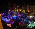 Seafaring festival ligurian sea in camogli illuminations in port camogli liguria italy june the sea there combines Royalty Free Stock Image