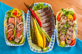 Seafood appetizer red fish mackerel fillet pink salmon Stock Photography