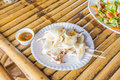 Seafood on the bamboo table Royalty Free Stock Images