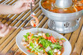 Seafood on the bamboo table Royalty Free Stock Photos