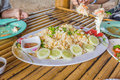 Seafood on the bamboo table Stock Images