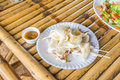 Seafood on the bamboo table Stock Photos