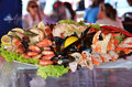 Seafood of bergen gorgeous display in norway Royalty Free Stock Images