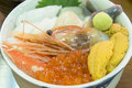 Seafood in Bowl in Hakodate morning market, Hokkaido, Japan. Royalty Free Stock Photo