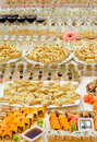 Seafood buffet a lot of cold snacks and drinks on table catering Royalty Free Stock Photo