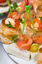 Seafood canapes Royalty Free Stock Images