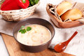 Seafood cream soup vegetables bread Stock Photos