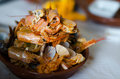 Seafood feast aftermath tureen of empty shells after a in faro portugal Royalty Free Stock Photos