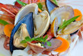 Seafood fresh salad from closeup Stock Photo