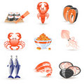 Seafood icons Royalty Free Stock Images