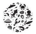 Seafood icons set in round shape, black silhouette. Sea food collection isolated on white background. Fish products