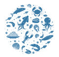 Seafood icons set in round shape,silhouette. Sea food collection isolated on white background. Fish products, marine