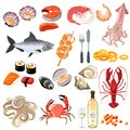 Seafood icons set with sushi lobster shrimp and white wine bottle isolated vector illustration Stock Image