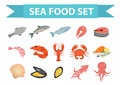 Seafood icons set vector, flat style. Sea food collection isolated on white background. Fish products illustration